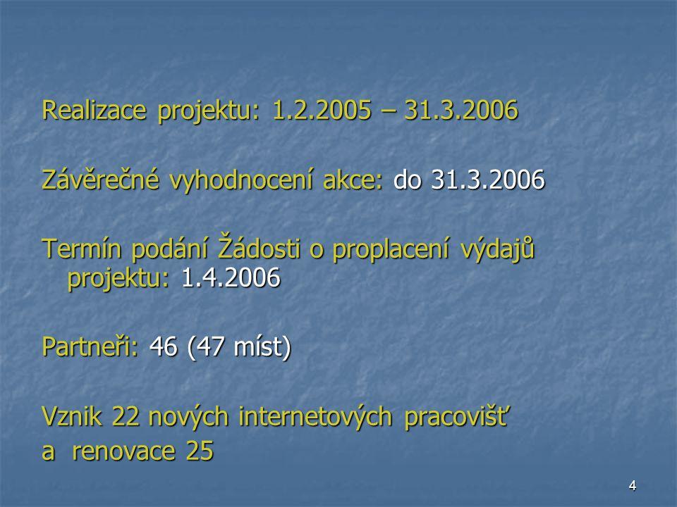 4 Realizace projektu: 1.2.2005 – 31.3.2006 Závěrečné vyhodnocení akce: do 31.3.2006 Termín podání Žádosti o proplacení výdajů projektu: 1.4.2006 Partneři: 46 (47 míst) Vznik 22 nových internetových pracovišť a renovace 25
