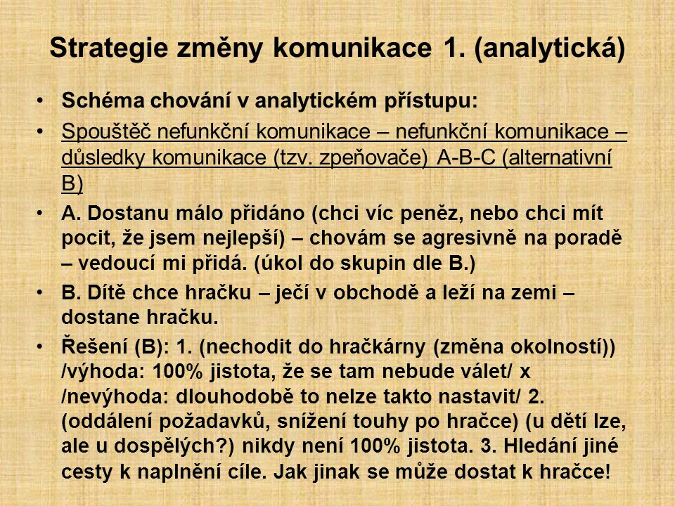 Strategie změny komunikace 1. (analytická) Schéma chování v analytickém přístupu: Spouštěč nefunkční komunikace – nefunkční komunikace – důsledky komu