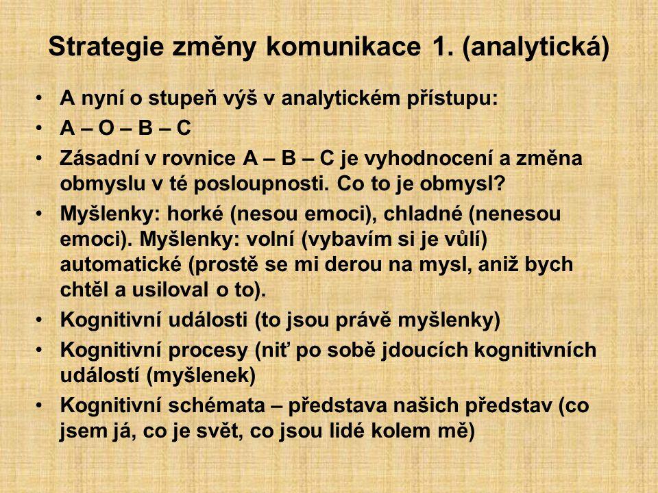 Strategie změny komunikace 1. (analytická) A nyní o stupeň výš v analytickém přístupu: A – O – B – C Zásadní v rovnice A – B – C je vyhodnocení a změn