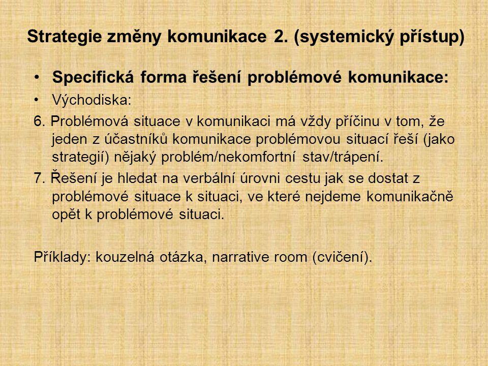 Strategie změny komunikace 2. (systemický přístup) Specifická forma řešení problémové komunikace: Východiska: 6. Problémová situace v komunikaci má vž