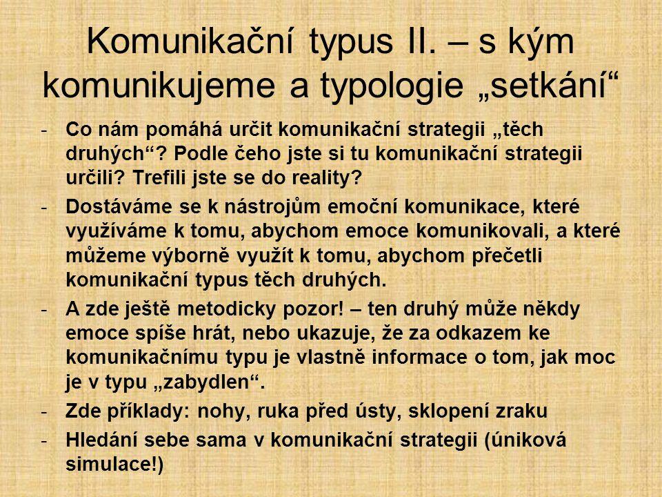 """Komunikační typus II. – s kým komunikujeme a typologie """"setkání"""" -Co nám pomáhá určit komunikační strategii """"těch druhých""""? Podle čeho jste si tu komu"""