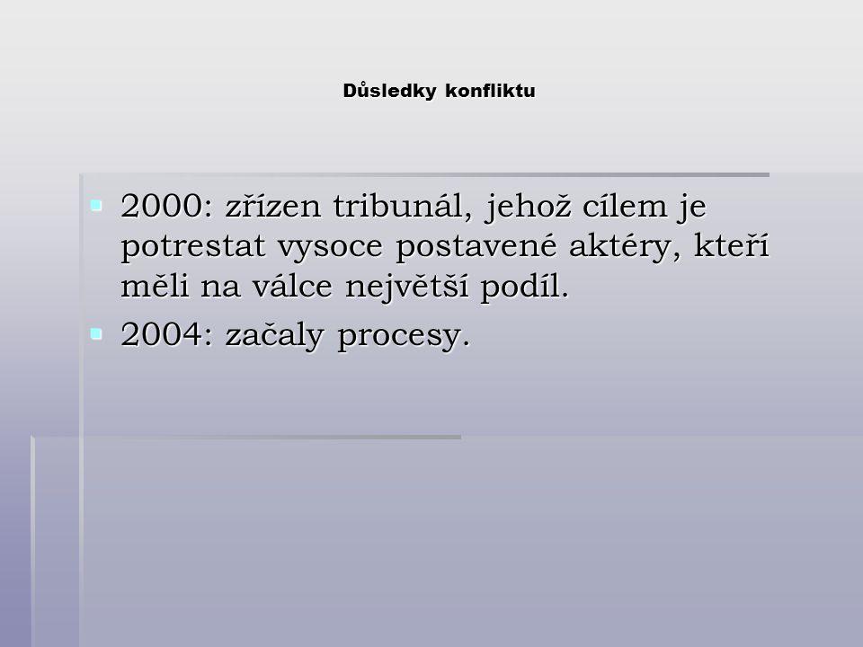 Důsledky konfliktu  2000: zřízen tribunál, jehož cílem je potrestat vysoce postavené aktéry, kteří měli na válce největší podíl.  2004: začaly proce
