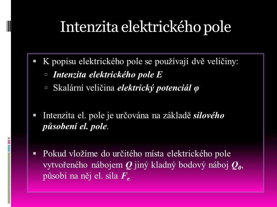 Intenzita elektrického pole  K popisu elektrického pole se používají dvě veličiny:  Intenzita elektrického pole E  Skalární veličina elektrický pot