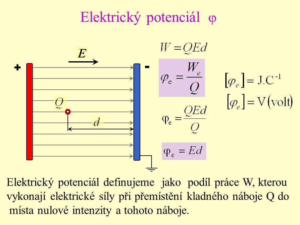 + - + Elektrický potenciál  Elektrický potenciál definujeme jako podíl práce W, kterou vykonají elektrické síly při přemístění kladného náboje Q do místa nulové intenzity a tohoto náboje.