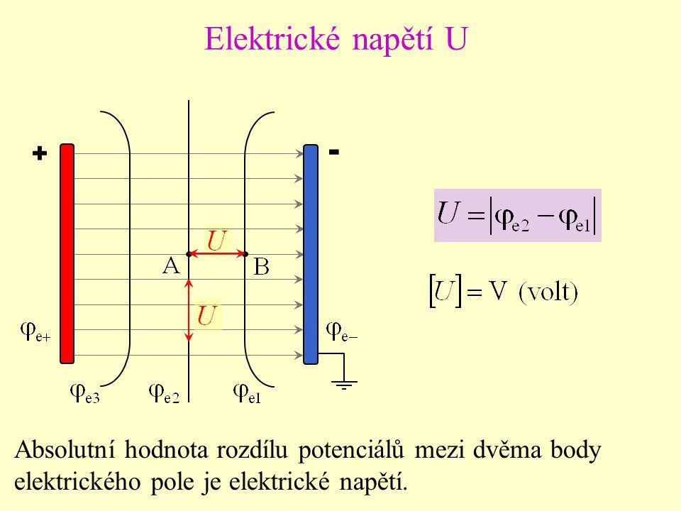 + - Elektrické napětí U Absolutní hodnota rozdílu potenciálů mezi dvěma body elektrického pole je elektrické napětí.