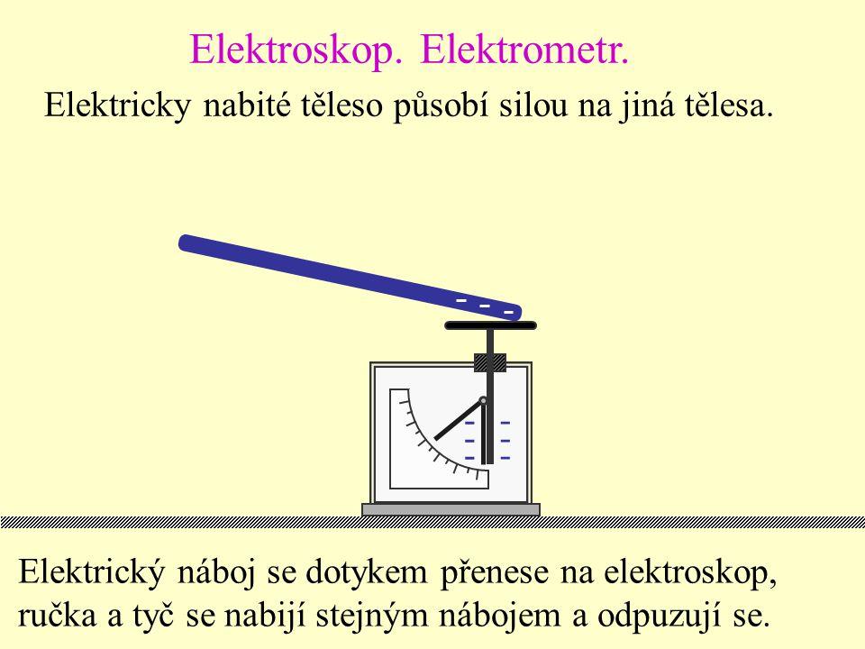 Elektrický náboj se dotykem přenese na elektroskop, ručka a tyč se nabijí stejným nábojem a odpuzují se.