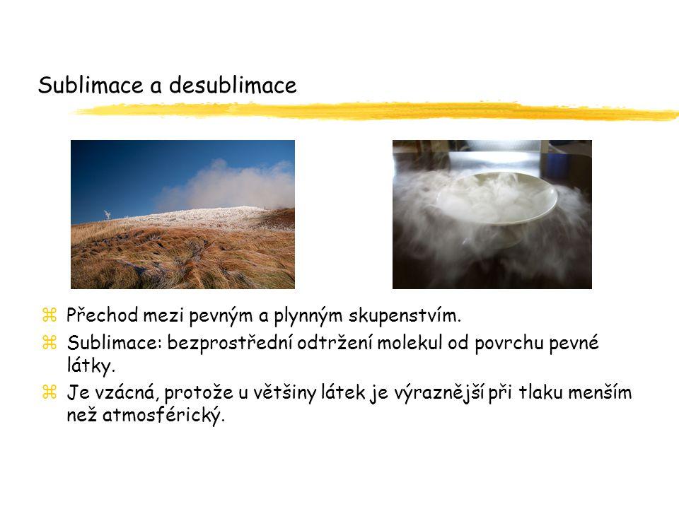 Sublimace a desublimace zPřechod mezi pevným a plynným skupenstvím. zSublimace: bezprostřední odtržení molekul od povrchu pevné látky. zJe vzácná, pro