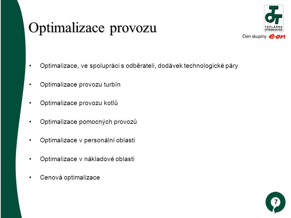 7 Optimalizace provozu Optimalizace provozu Optimalizace, ve spolupráci s odběrateli, dodávek technologické páry Optimalizace provozu turbín Optimalizace provozu kotlů Optimalizace pomocných provozů Optimalizace v personální oblasti Optimalizace v nákladové oblasti Cenová optimalizace