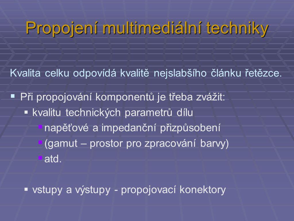 Propojení multimediální techniky Kvalita celku odpovídá kvalitě nejslabšího článku řetězce.