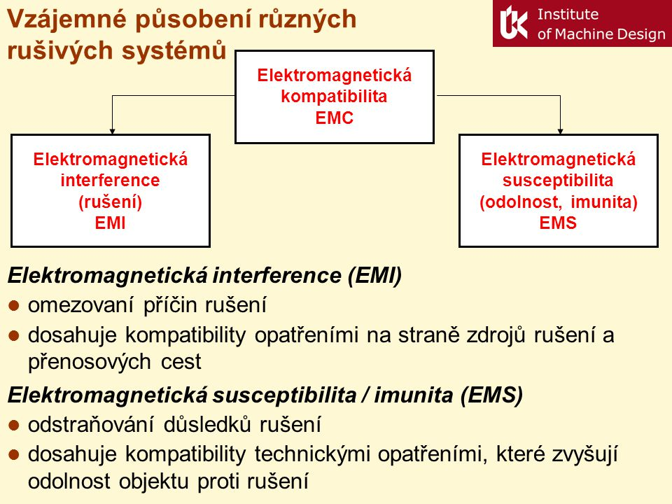 Vzájemné působení různých rušivých systémů Elektromagnetická interference (rušení) EMI Elektromagnetická kompatibilita EMC Elektromagnetická susceptib