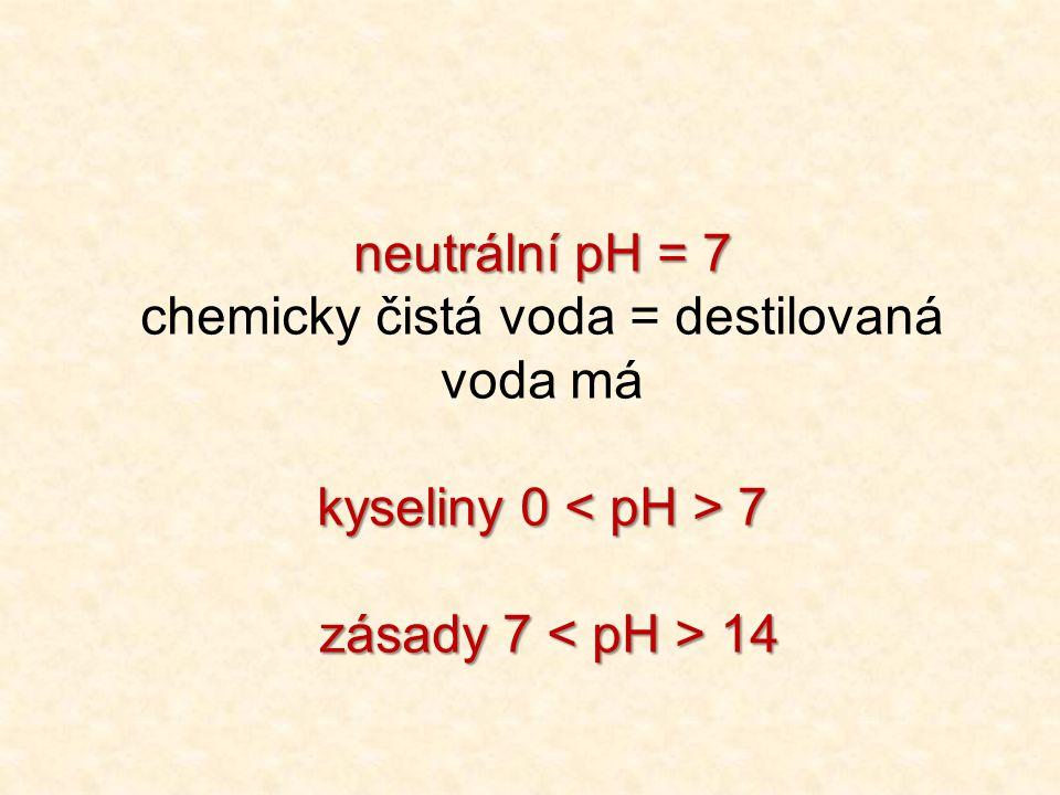 neutrální pH = 7 chemicky čistá voda = destilovaná voda má kyseliny 0 7 zásady 7 14 zásady 7 14