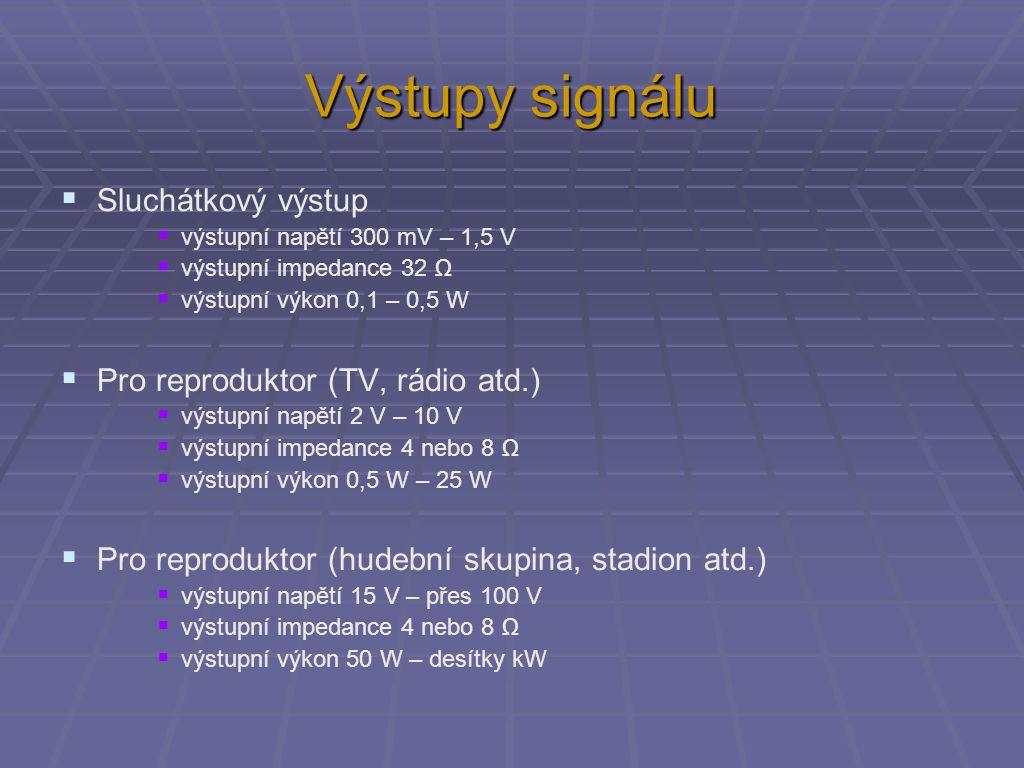 Výstupy signálu  Sluchátkový výstup  výstupní napětí 300 mV – 1,5 V  výstupní impedance 32 Ω  výstupní výkon 0,1 – 0,5 W  Pro reproduktor (TV, rá