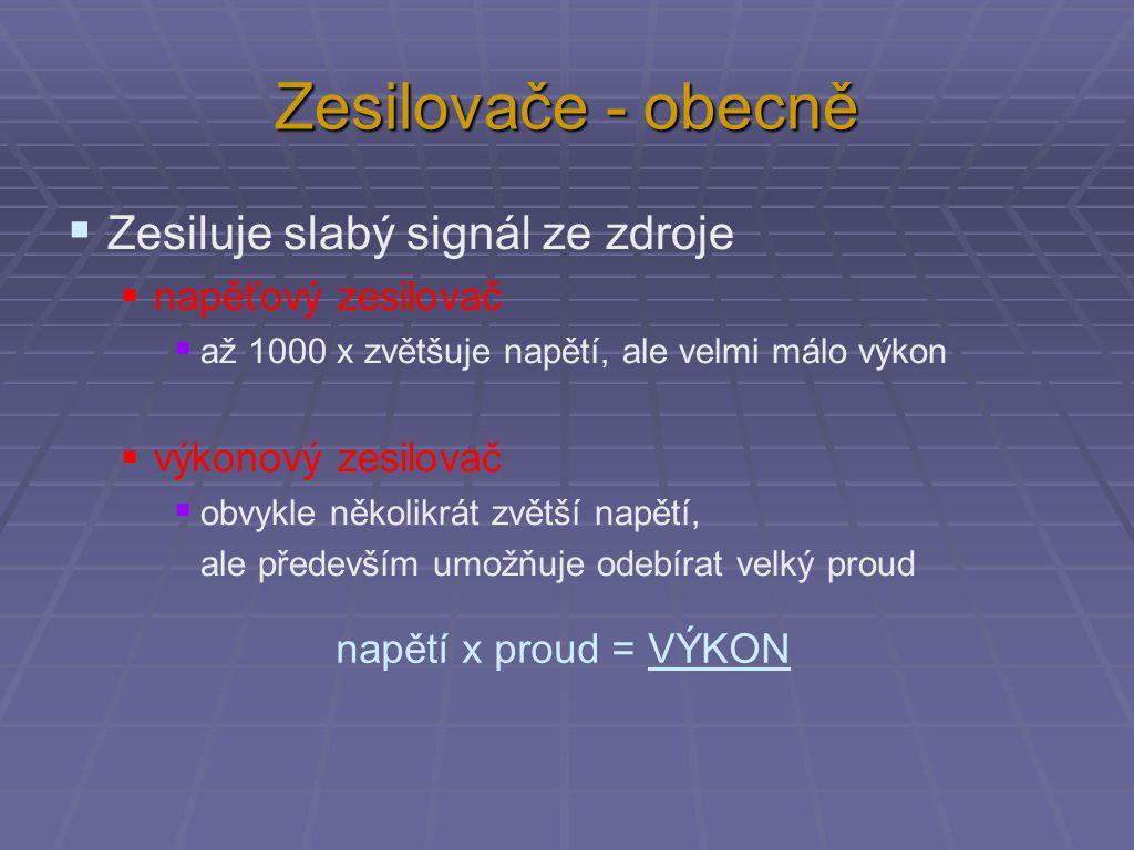 Zesilovače - obecně  Zesiluje slabý signál ze zdroje  napěťový zesilovač  až 1000 x zvětšuje napětí, ale velmi málo výkon  výkonový zesilovač  ob