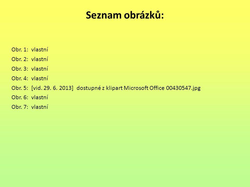 Seznam obrázků: Obr. 1: vlastní Obr. 2: vlastní Obr. 3: vlastní Obr. 4: vlastní Obr. 5: [vid. 29. 6. 2013] dostupné z klipart Microsoft Office 0043054