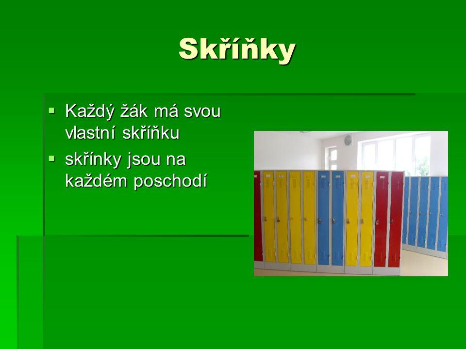 Skříňky  Každý žák má svou vlastní skříňku  skřínky jsou na každém poschodí