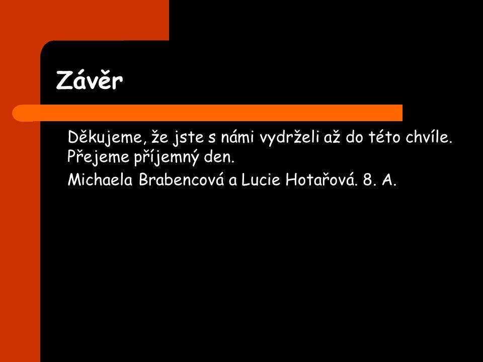 Závěr Děkujeme, že jste s námi vydrželi až do této chvíle. Přejeme příjemný den. Michaela Brabencová a Lucie Hotařová. 8. A.