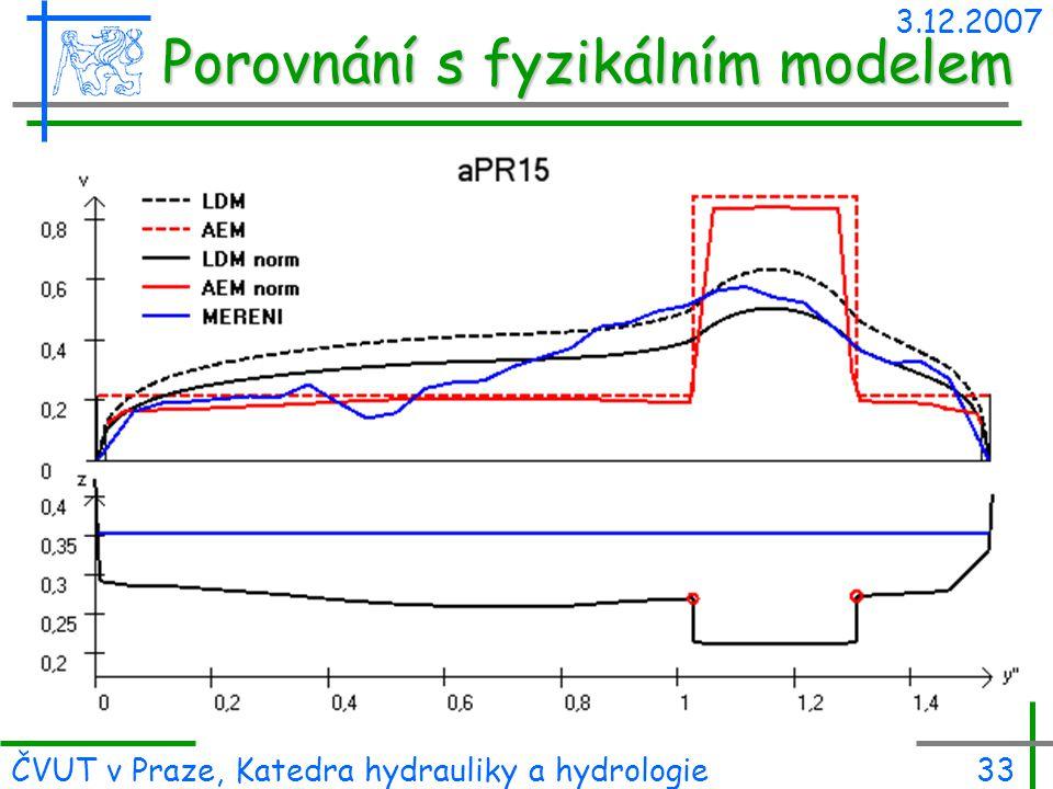 3.12.2007 ČVUT v Praze, Katedra hydrauliky a hydrologie33 Porovnání s fyzikálním modelem