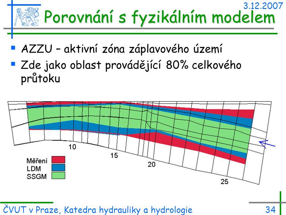 3.12.2007 ČVUT v Praze, Katedra hydrauliky a hydrologie34  AZZU – aktivní zóna záplavového území  Zde jako oblast provádějící 80% celkového průtoku