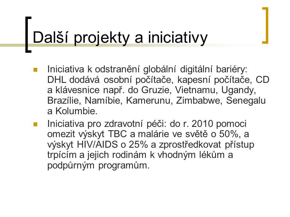 Další projekty a iniciativy Iniciativa k odstranění globální digitální bariéry: DHL dodává osobní počítače, kapesní počítače, CD a klávesnice např.