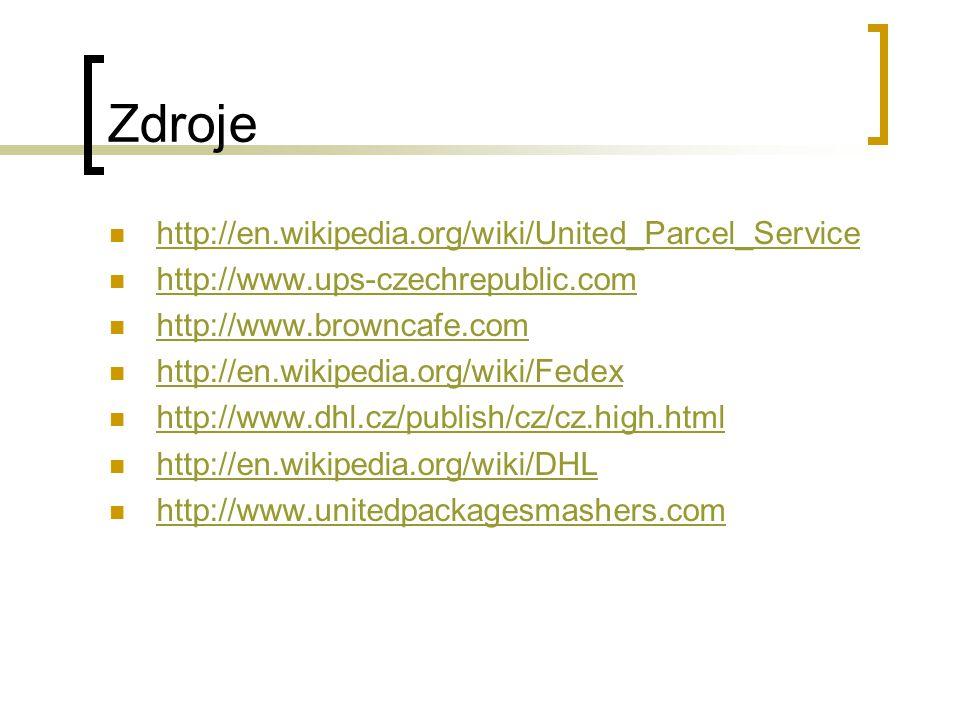 Zdroje http://en.wikipedia.org/wiki/United_Parcel_Service http://www.ups-czechrepublic.com http://www.browncafe.com http://en.wikipedia.org/wiki/Fedex http://www.dhl.cz/publish/cz/cz.high.html http://en.wikipedia.org/wiki/DHL http://www.unitedpackagesmashers.com