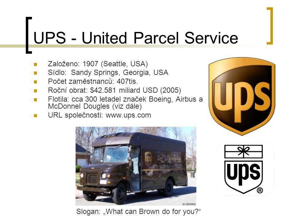UPS - United Parcel Service Založeno: 1907 (Seattle, USA) Sídlo: Sandy Springs, Georgia, USA Počet zaměstnanců: 407tis.