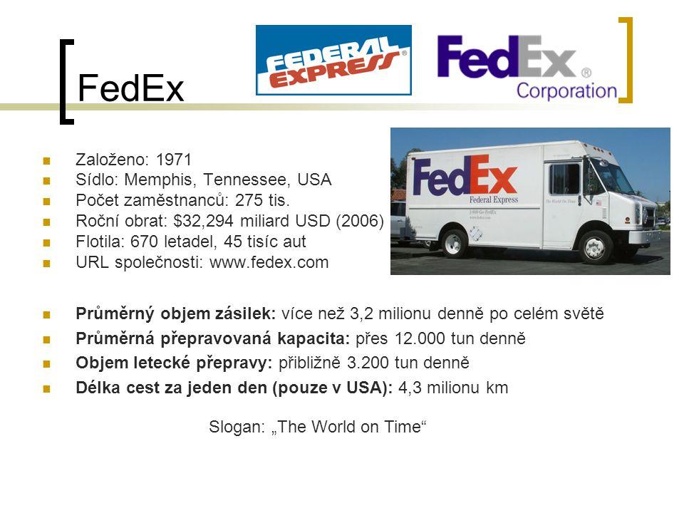 FedEx Založeno: 1971 Sídlo: Memphis, Tennessee, USA Počet zaměstnanců: 275 tis.