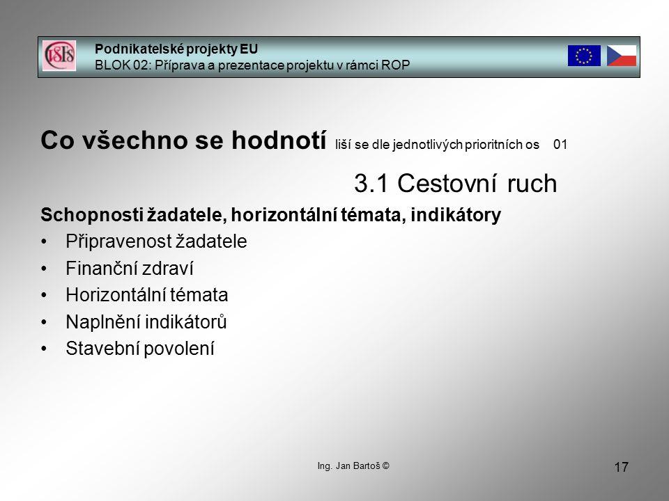 17 Podnikatelské projekty EU BLOK 02: Příprava a prezentace projektu v rámci ROP Ing. Jan Bartoš © Co všechno se hodnotí liší se dle jednotlivých prio