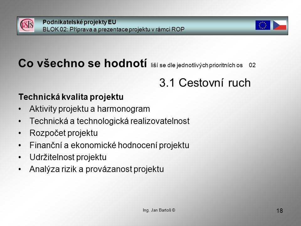 18 Podnikatelské projekty EU BLOK 02: Příprava a prezentace projektu v rámci ROP Ing. Jan Bartoš © Co všechno se hodnotí liší se dle jednotlivých prio