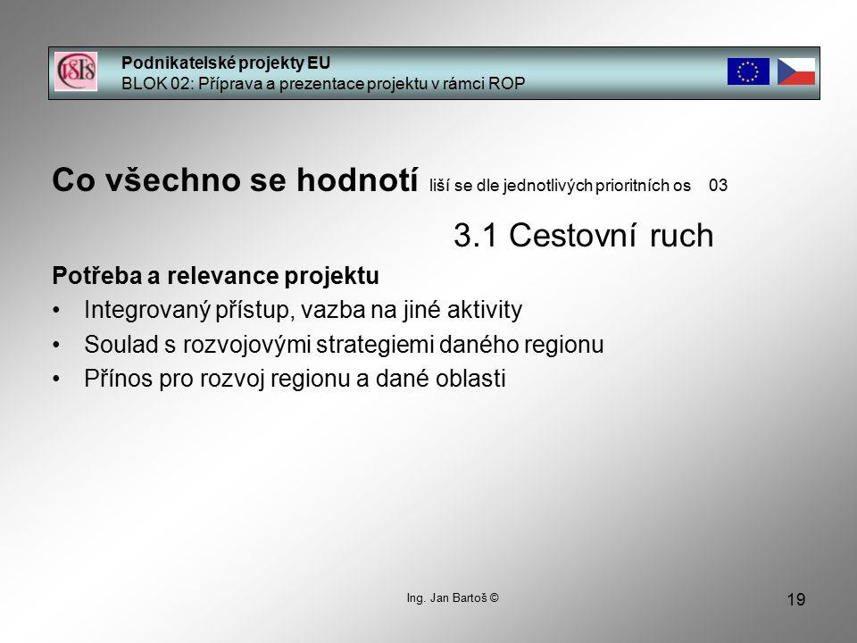 19 Podnikatelské projekty EU BLOK 02: Příprava a prezentace projektu v rámci ROP Ing. Jan Bartoš © Co všechno se hodnotí liší se dle jednotlivých prio