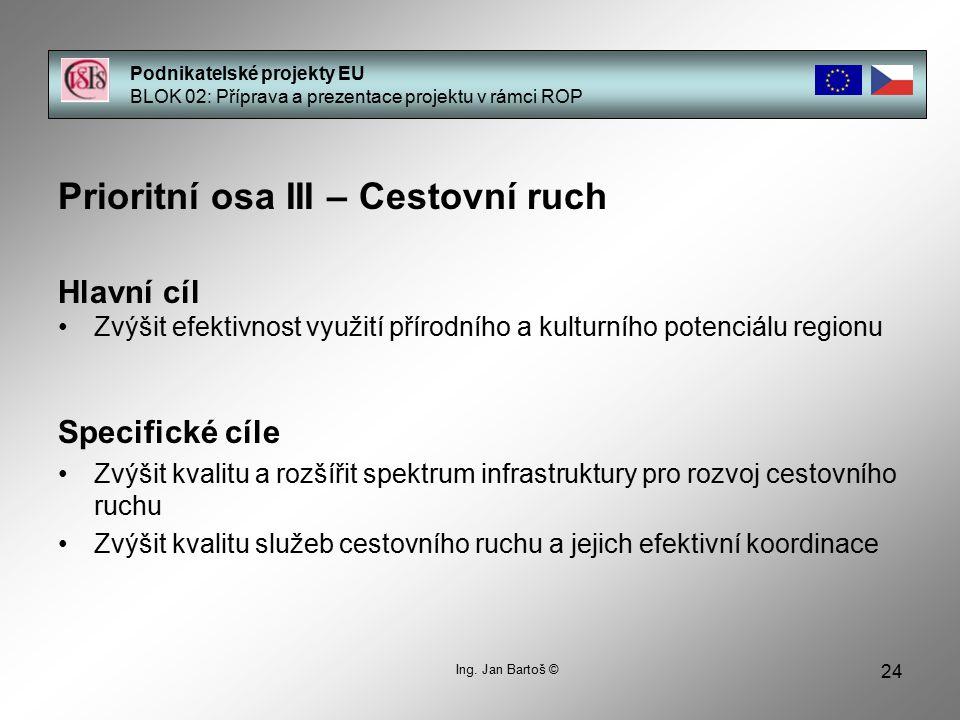 24 Podnikatelské projekty EU BLOK 02: Příprava a prezentace projektu v rámci ROP Prioritní osa III – Cestovní ruch Hlavní cíl Zvýšit efektivnost využi