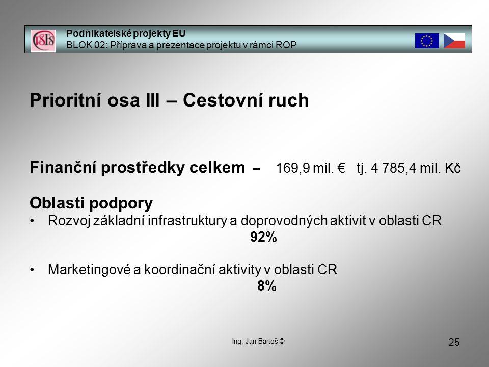 25 Podnikatelské projekty EU BLOK 02: Příprava a prezentace projektu v rámci ROP Prioritní osa III – Cestovní ruch Finanční prostředky celkem – 169,9