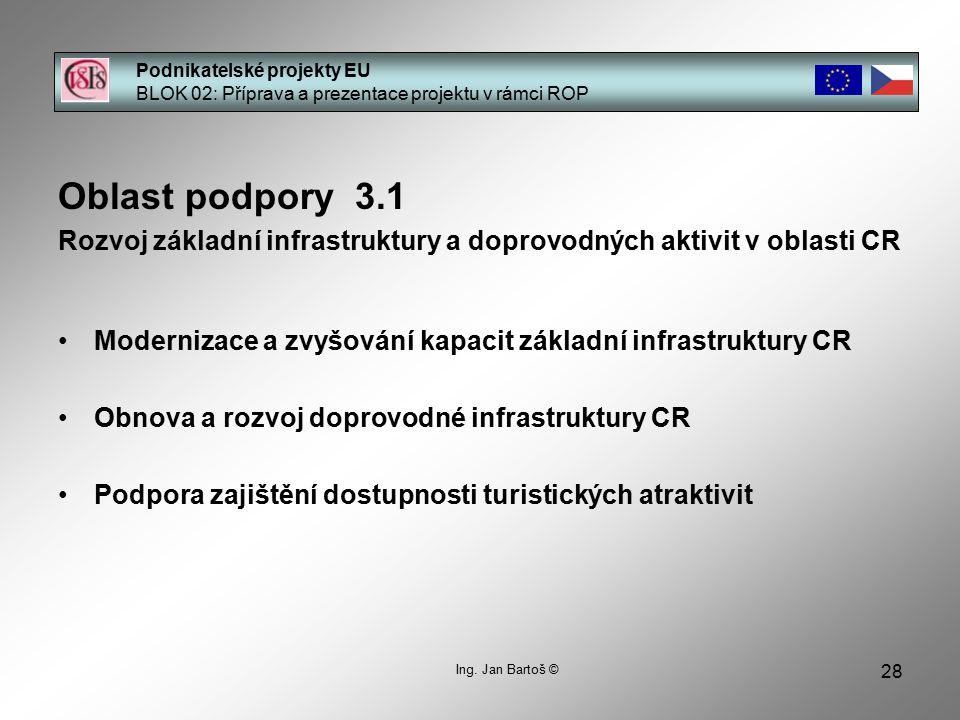 28 Podnikatelské projekty EU BLOK 02: Příprava a prezentace projektu v rámci ROP Ing. Jan Bartoš © Oblast podpory 3.1 Rozvoj základní infrastruktury a