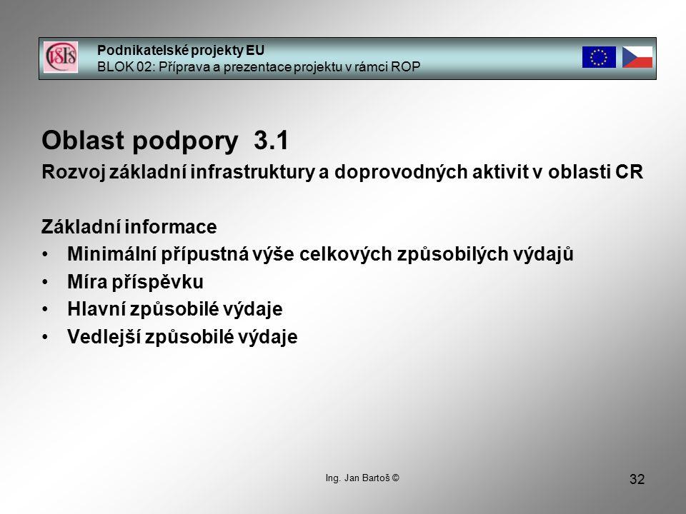 32 Podnikatelské projekty EU BLOK 02: Příprava a prezentace projektu v rámci ROP Ing. Jan Bartoš © Oblast podpory 3.1 Rozvoj základní infrastruktury a