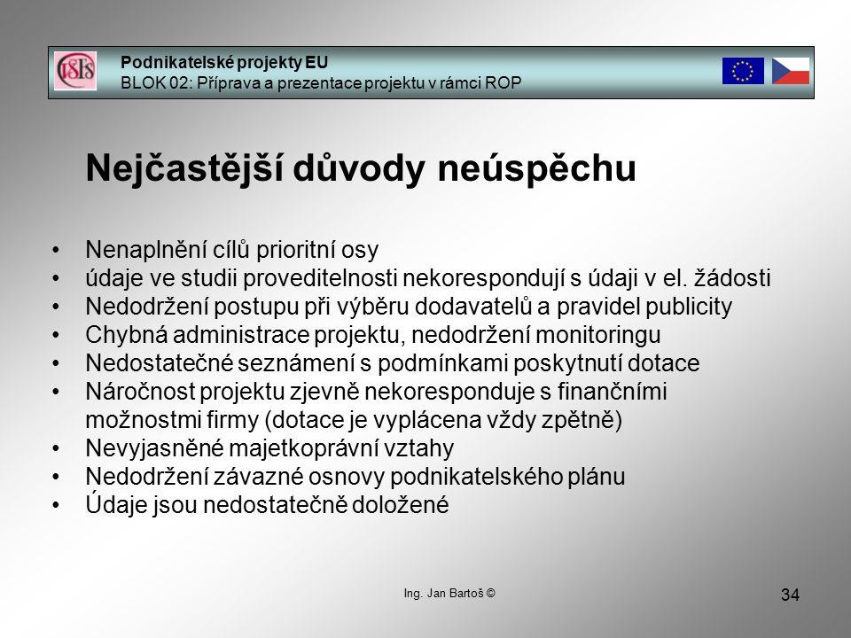 34 Podnikatelské projekty EU BLOK 02: Příprava a prezentace projektu v rámci ROP Ing. Jan Bartoš © Nejčastější důvody neúspěchu Nenaplnění cílů priori