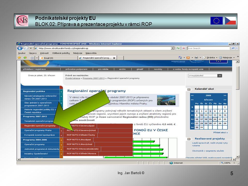 5 Podnikatelské projekty EU BLOK 02: Příprava a prezentace projektu v rámci ROP Ing. Jan Bartoš ©