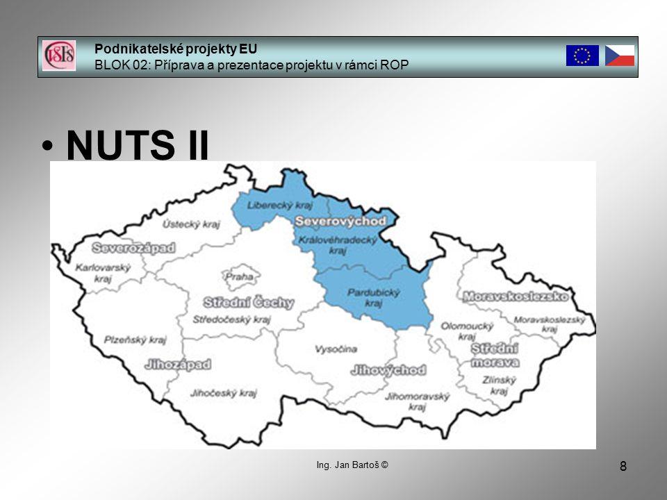 8 Podnikatelské projekty EU BLOK 02: Příprava a prezentace projektu v rámci ROP Ing. Jan Bartoš © NUTS II