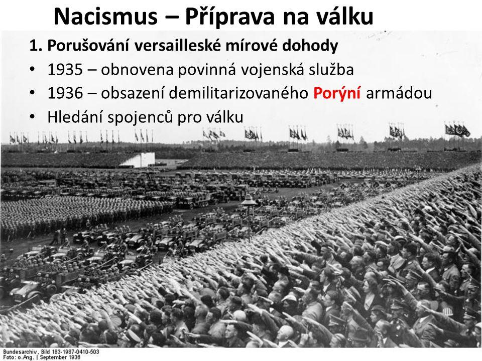 1. Porušování versailleské mírové dohody 1935 – obnovena povinná vojenská služba 1936 – obsazení demilitarizovaného Porýní armádou Hledání spojenců pr