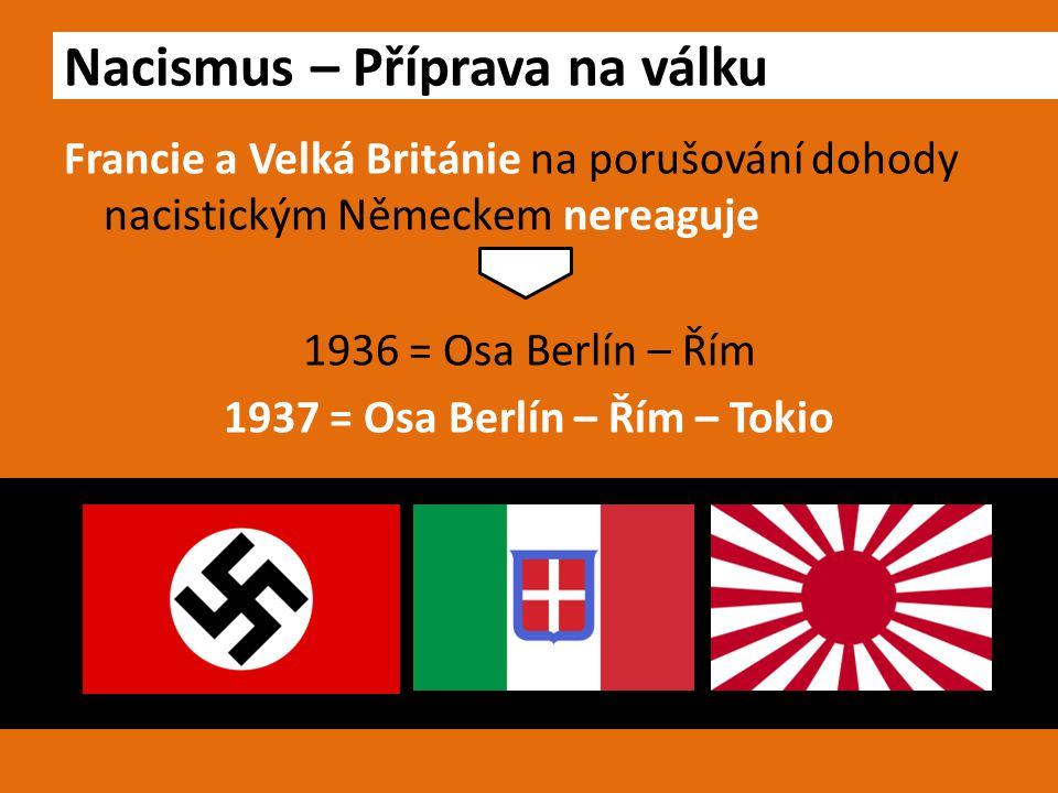 Francie a Velká Británie na porušování dohody nacistickým Německem nereaguje 1936 = Osa Berlín – Řím 1937 = Osa Berlín – Řím – Tokio Nacismus – Přípra