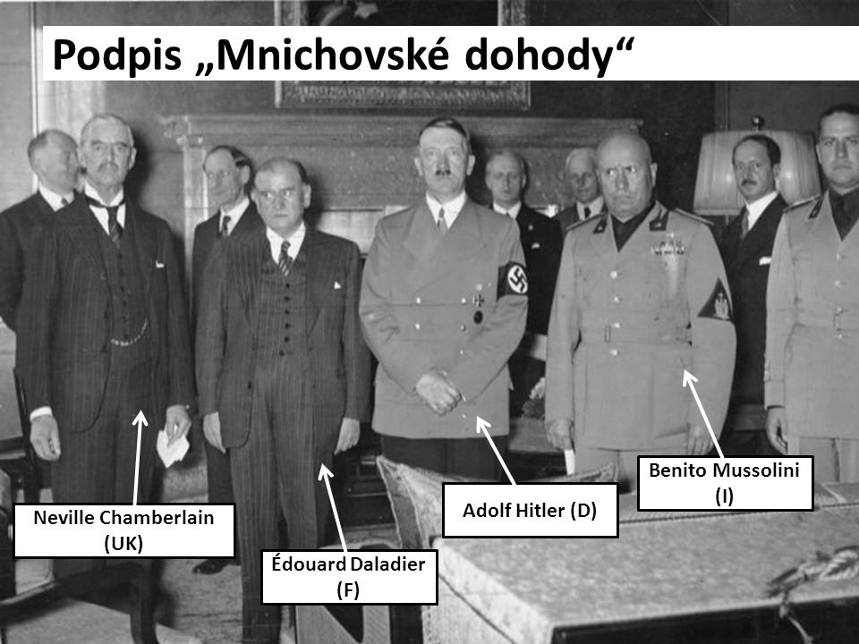 "Podpis ""Mnichovské dohody"" Neville Chamberlain (UK) Édouard Daladier (F) Adolf Hitler (D) Benito Mussolini (I)"