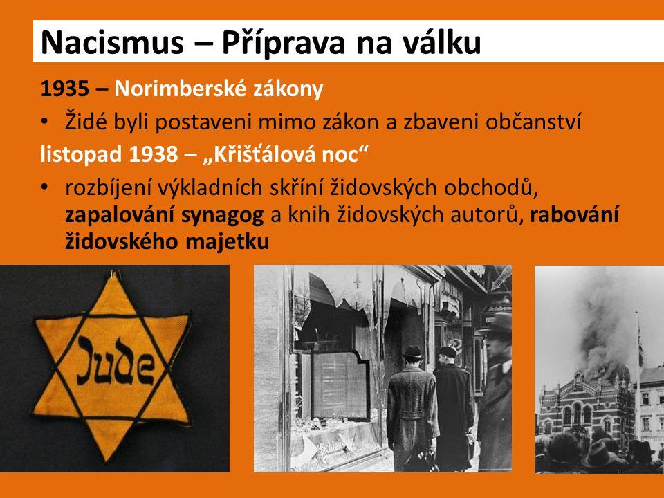 """1935 – Norimberské zákony Židé byli postaveni mimo zákon a zbaveni občanství listopad 1938 – """"Křišťálová noc"""" rozbíjení výkladních skříní židovských o"""