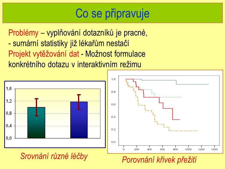Co se připravuje Problémy – vyplňování dotazníků je pracné, - sumární statistiky již lékařům nestačí Projekt vytěžování dat - Možnost formulace konkrétního dotazu v interaktivním režimu Srovnání různé léčby Porovnání křivek přežití
