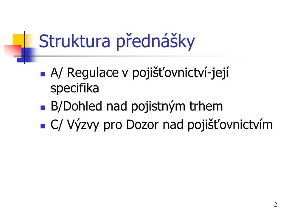 2 Struktura přednášky A/ Regulace v pojišťovnictví-její specifika B/Dohled nad pojistným trhem C/ Výzvy pro Dozor nad pojišťovnictvím