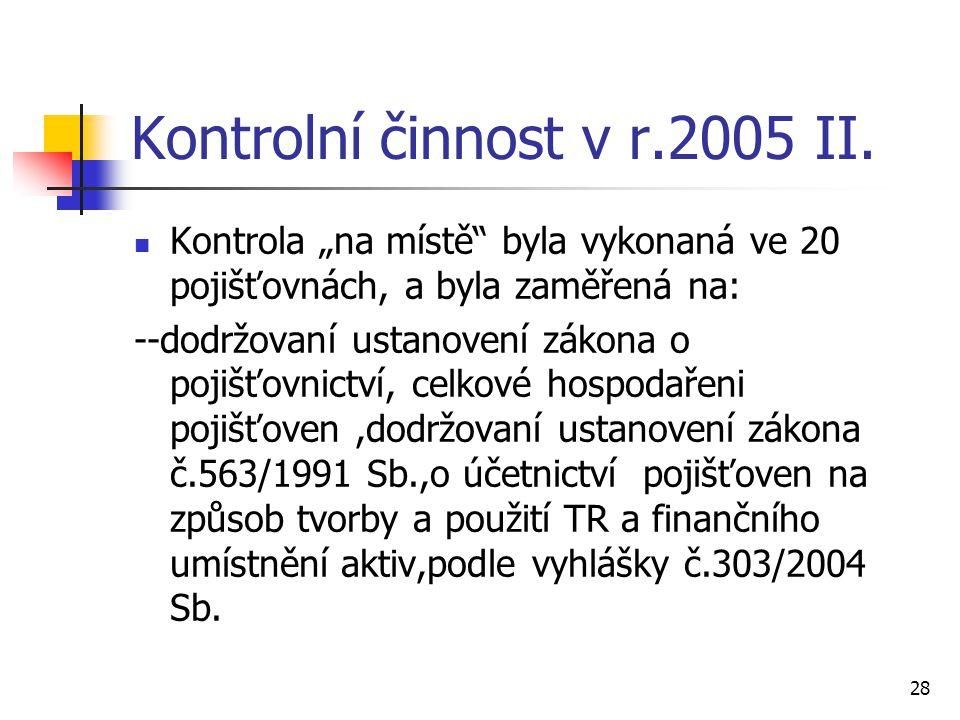 28 Kontrolní činnost v r.2005 II.