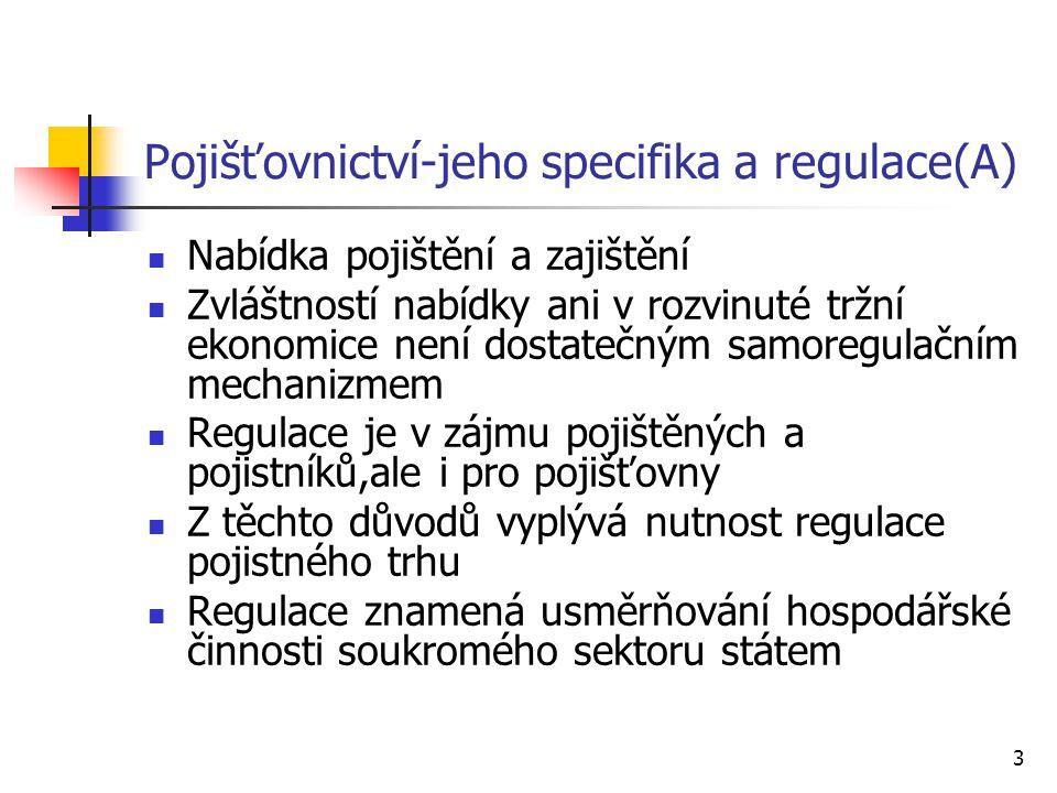 3 Pojišťovnictví-jeho specifika a regulace(A) Nabídka pojištění a zajištění Zvláštností nabídky ani v rozvinuté tržní ekonomice není dostatečným samoregulačním mechanizmem Regulace je v zájmu pojištěných a pojistníků,ale i pro pojišťovny Z těchto důvodů vyplývá nutnost regulace pojistného trhu Regulace znamená usměrňování hospodářské činnosti soukromého sektoru státem