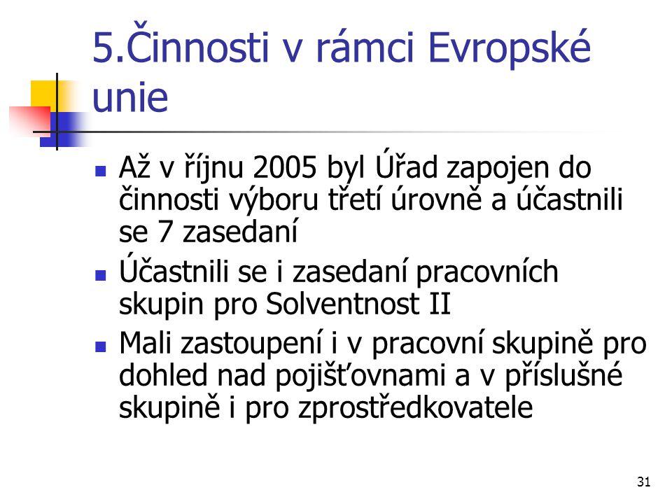 31 5.Činnosti v rámci Evropské unie Až v říjnu 2005 byl Úřad zapojen do činnosti výboru třetí úrovně a účastnili se 7 zasedaní Účastnili se i zasedaní pracovních skupin pro Solventnost II Mali zastoupení i v pracovní skupině pro dohled nad pojišťovnami a v příslušné skupině i pro zprostředkovatele
