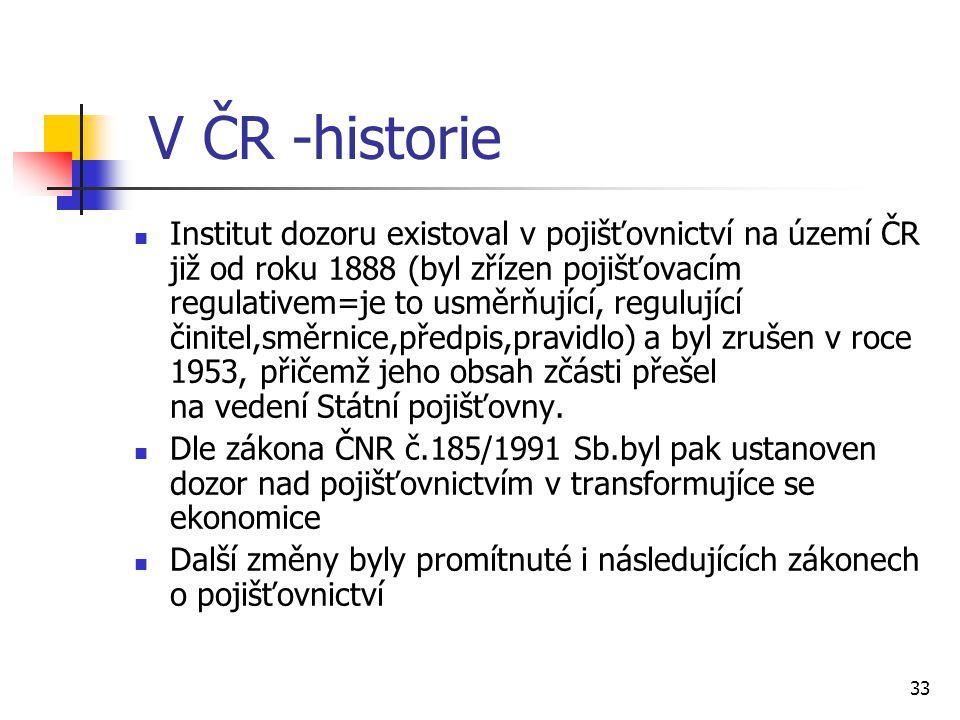 33 V ČR -historie Institut dozoru existoval v pojišťovnictví na území ČR již od roku 1888 (byl zřízen pojišťovacím regulativem=je to usměrňující, regulující činitel,směrnice,předpis,pravidlo) a byl zrušen v roce 1953, přičemž jeho obsah zčásti přešel na vedení Státní pojišťovny.