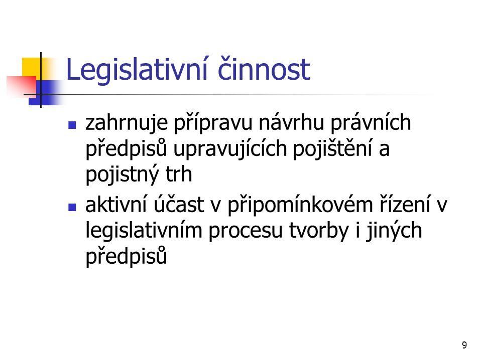 9 Legislativní činnost zahrnuje přípravu návrhu právních předpisů upravujících pojištění a pojistný trh aktivní účast v připomínkovém řízení v legislativním procesu tvorby i jiných předpisů