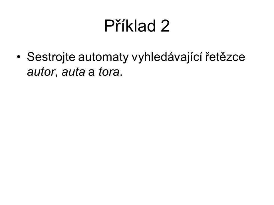 Příklad 2 Sestrojte automaty vyhledávající řetězce autor, auta a tora.