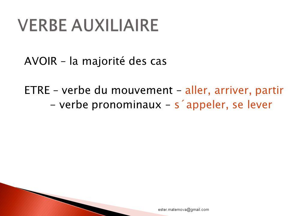AVOIR – la majorité des cas ETRE – verbe du mouvement – aller, arriver, partir - verbe pronominaux – s´appeler, se lever ester.maternova@gmail.com