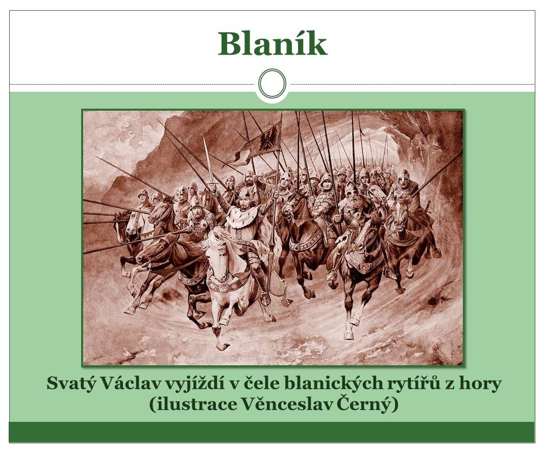 Blaník Svatý Václav vyjíždí v čele blanických rytířů z hory (ilustrace Věnceslav Černý)